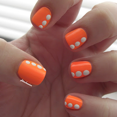 Models Own Orange Sorbet with Sally Hansen White On dotting nail art