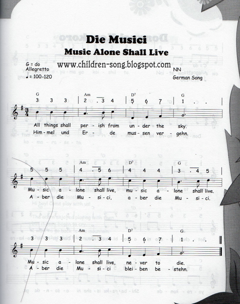 Die Musici Music Alone Shall Live With Notes And Chords