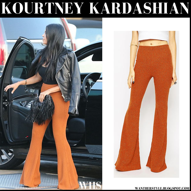 Kourtney Kardashian in camel Asos 70s ribbed flared pants what she wore august 7