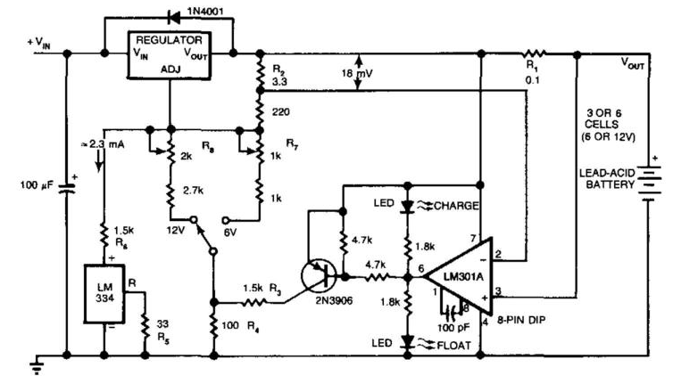 Charger Extends Lead-Acid Battery Life Circuit Diagram