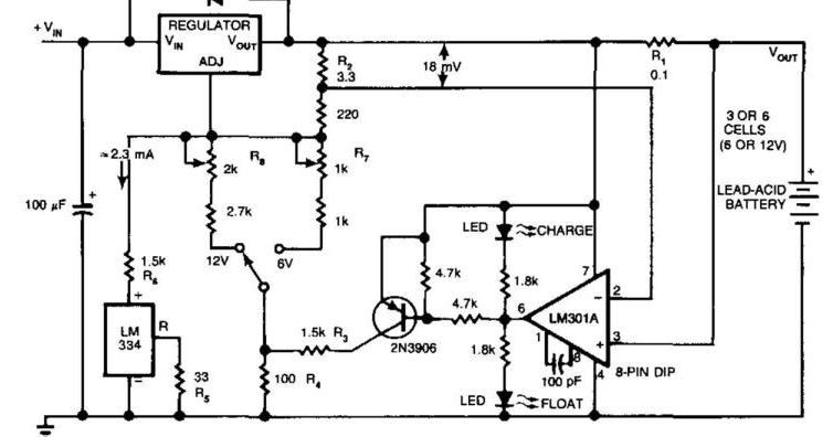 circuit diagram  build a charger extends lead acid battery