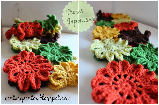 Cachecol, flores japonesas