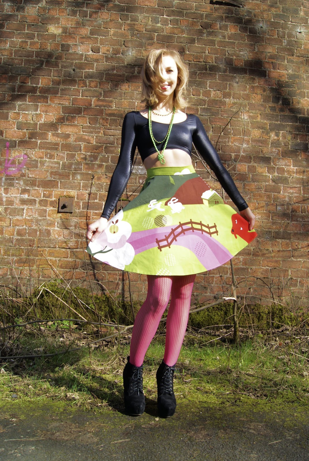 Tocha's World, circle skirt, Black Milk, crop top, Ikea