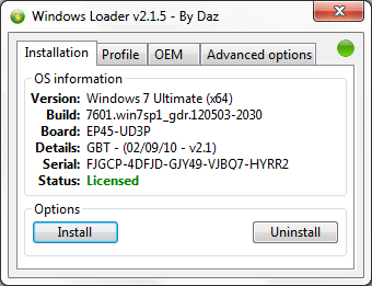 Windows Loader v2.1.5 by Daz