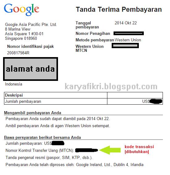 Screenshot pembayaran dan yang diperlukan saat mengambil pembayaran di WU kantor pos (karyafikri.blogspot.com)