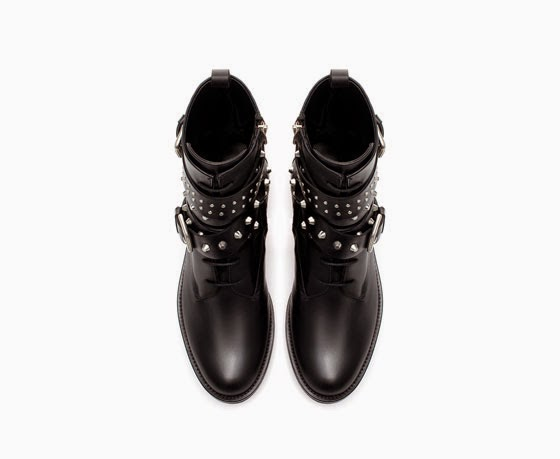 Zara flat leather biker ankle boot