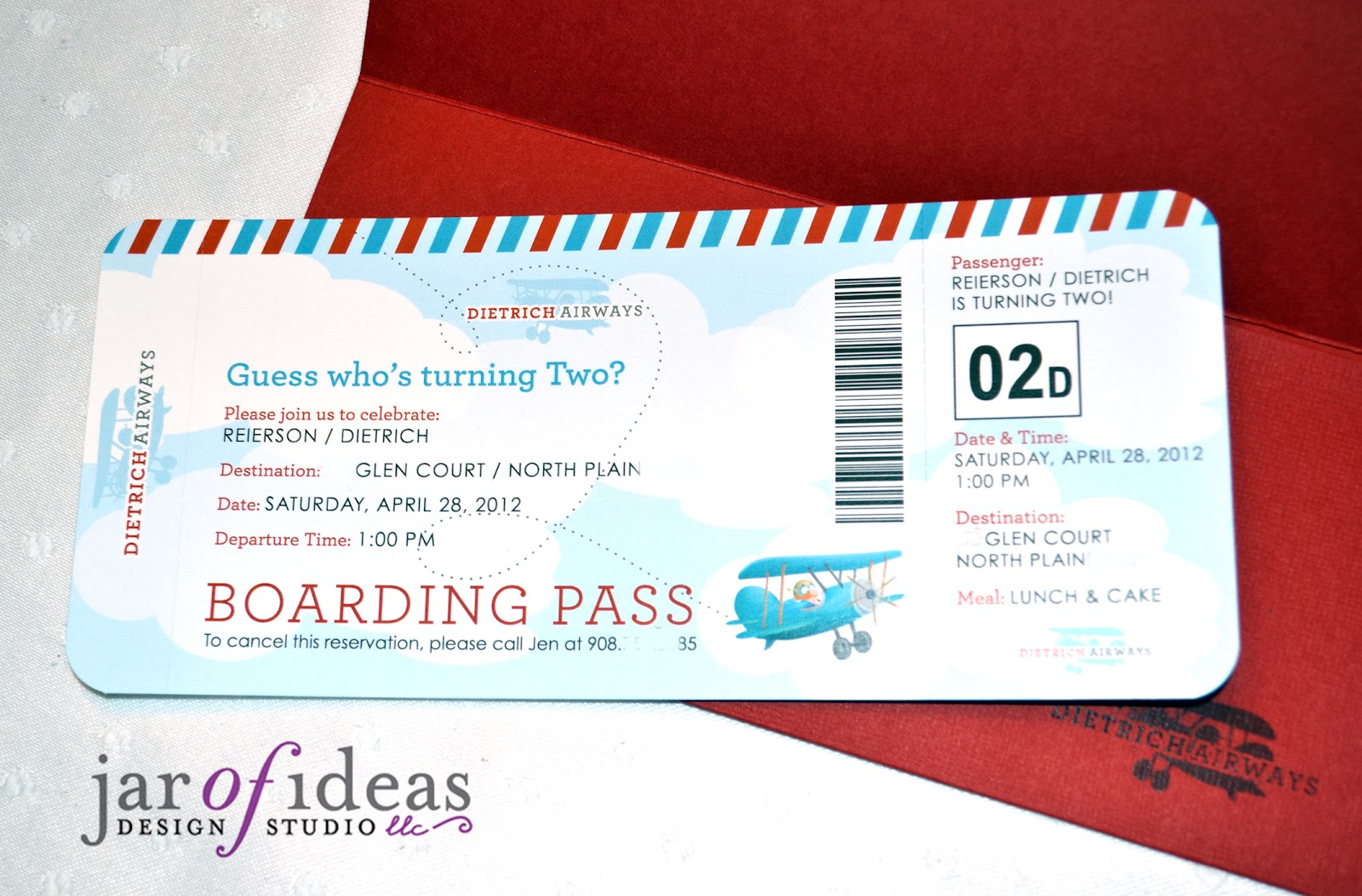 Jar Of Ideas Airplane Themed 2nd Birthday Invitation