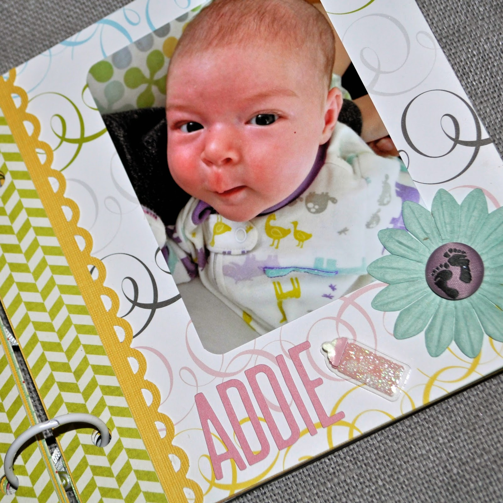 sweet baby brag book for grandmother grandma grams green blue yellow pink purple grey unisex boy girl card stock patterned paper first year month monthly pre made mini scrapbook album 6x6