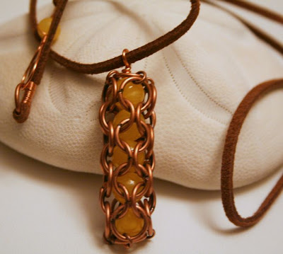 Caught you! (copper, jade, leather cord) :: All Pretty Things