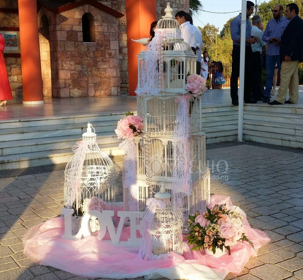 διακόσμηση γάμου ανθέμιο με κλουβιά