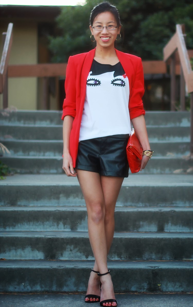 red blazer leather shorts graphic tee uniqlo