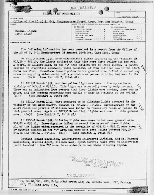 Reports of UFOs Over 'Q Area' (Nuke Storage) of Killeen Base 3-24-1949