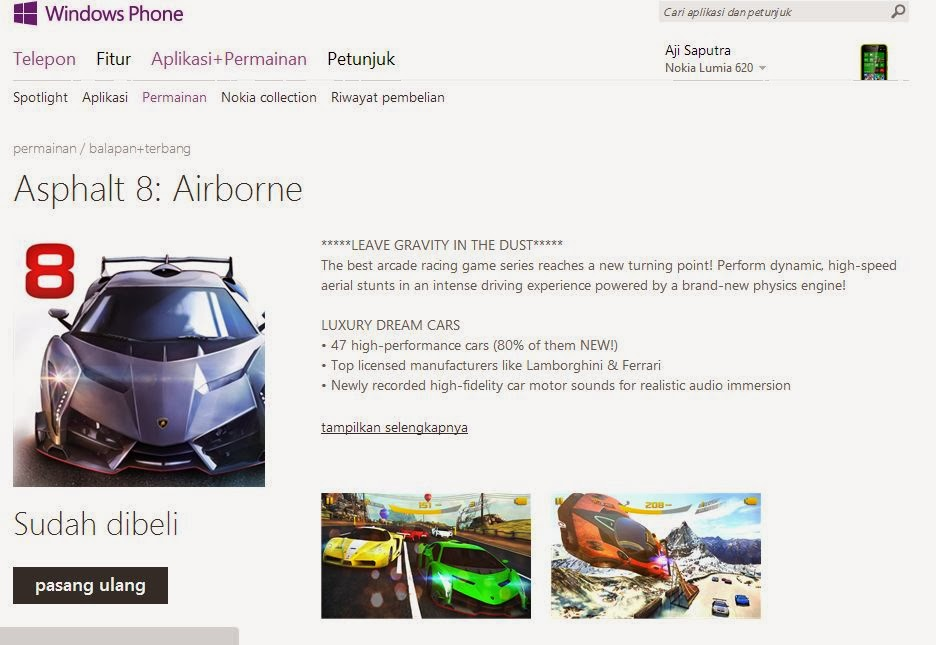 Asphalt 8 Airbone Gratis di Windows dan Windows Phone