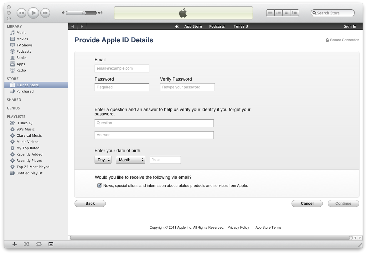 how to pass payment method on itunes