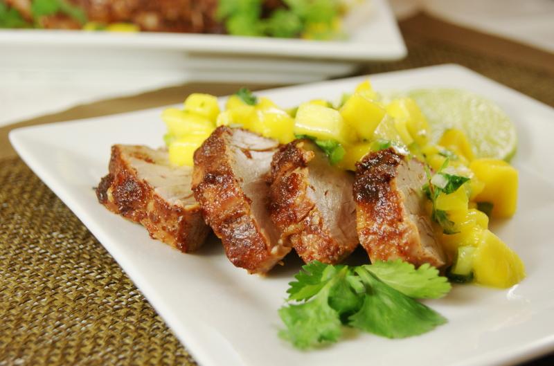 Sweet-&-Spicy Pork Tenderloin with Mango Salsa - The ...