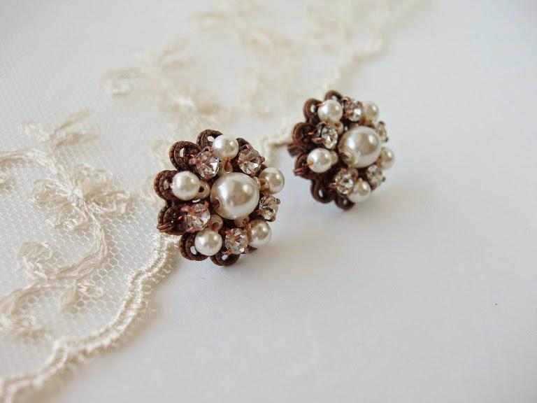 Pulma pruudi ehted pärlitega kristallidega kõrvarõngad vintage stiilis