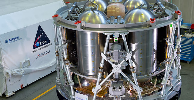 A test version of ESA's service module for NASA's Orion spacecraft at Thales Alenia Space in Turin, Italy, before shipping to USA. Credit: Airbus