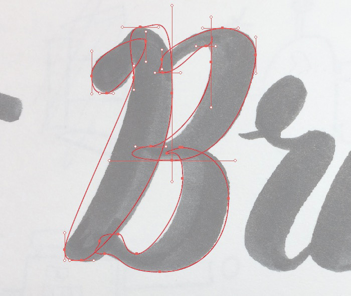 Get your anchor points in place first at the topmost, bottommost, leftmost and rightmost points of each shape, then you can fix your handles later - Hand Lettering Tutorial on HelloBrio.com