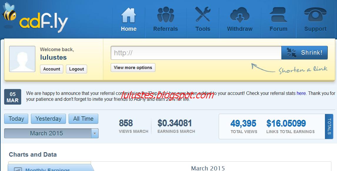 Bukti pembayaran bisnis online adf.ly