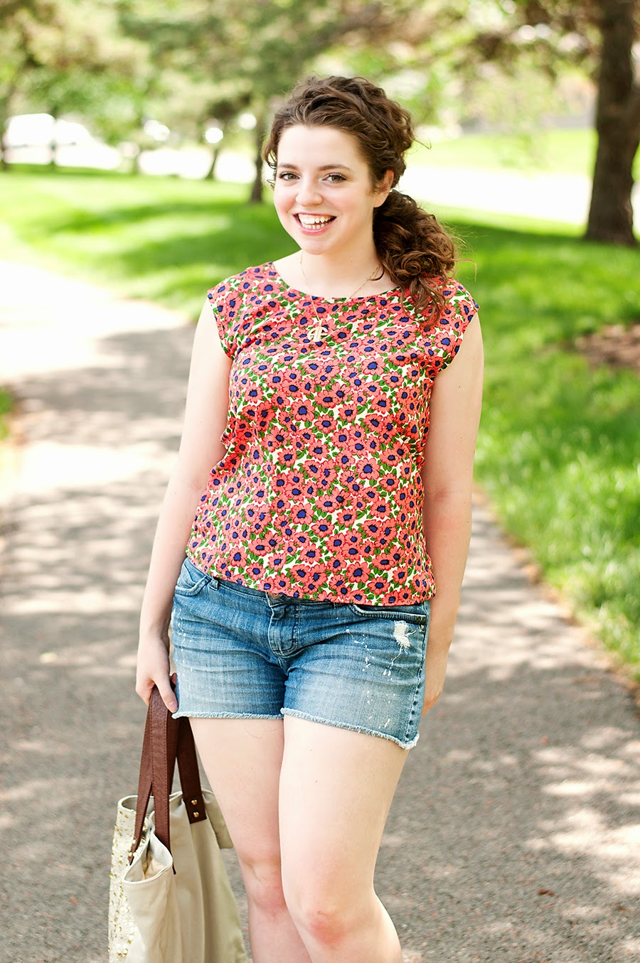 Spring floral top with distressed shorts