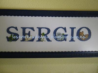 Nombre Sergio bordado a punto de cruz