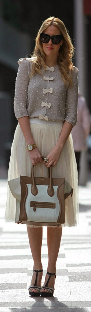 Lovely Front Bows Sweater with Cream Tulle Skirt | Street Styles