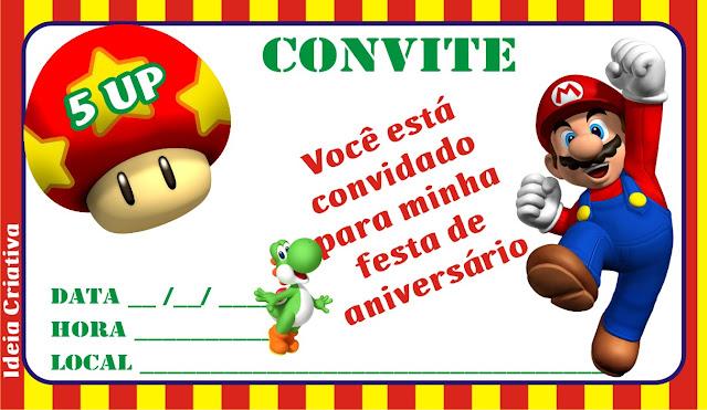 Convite para imprimir grátis Super Mário Brós