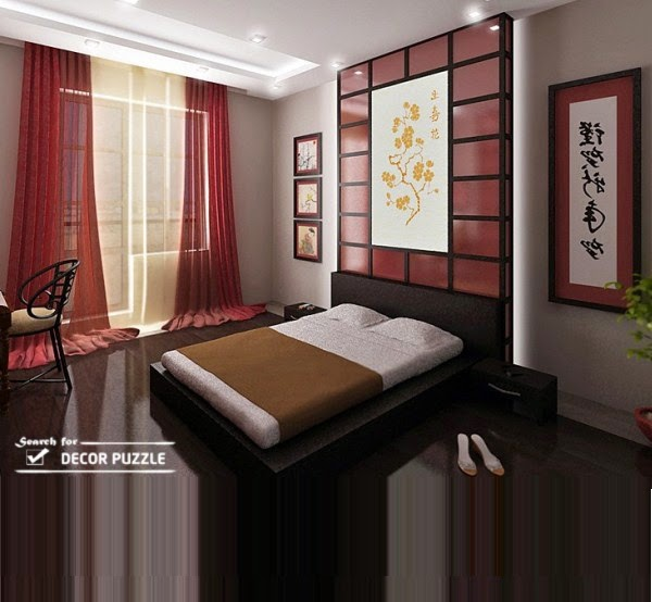 Japanese interior design ideas for bedroom wall decor, lighting, window curtains