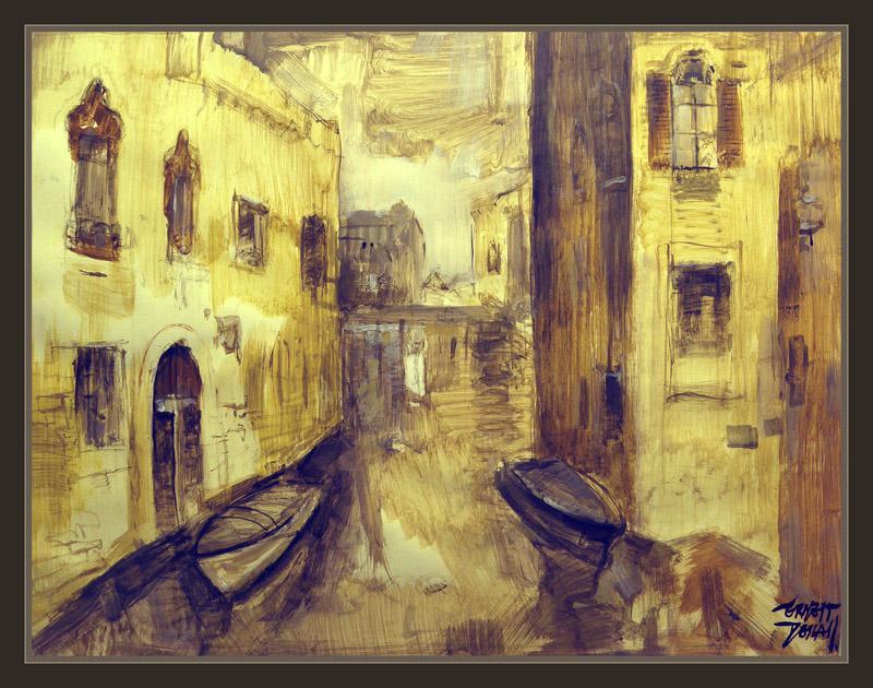 VENECIA-CANALES-PALACIOS-ROMANTICISMO-PINTURA-CUADROS-PINTOR-ERNEST DESCALS-