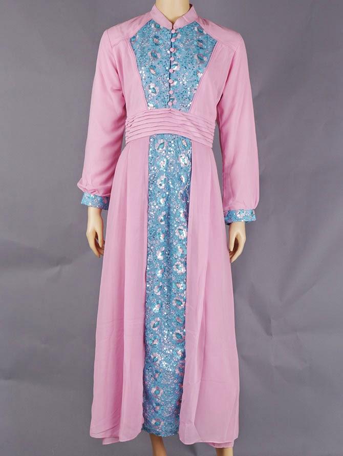 Model Busana Gamis Pesta Lebaran Bahan Sifon Warna Pink