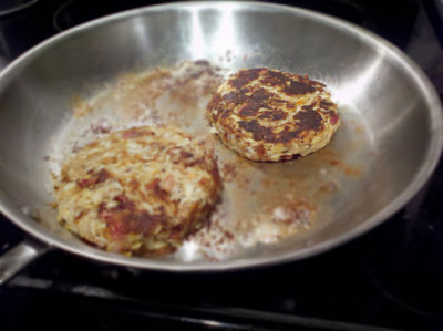 Bacon crab cakes, in process