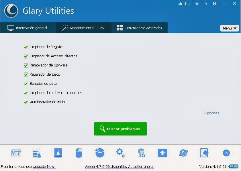 Glary Utilities buscar problemas en Mantenimiento un click