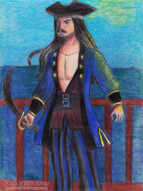 Dibujo de un pirata pintado con lápices de colores