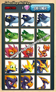 imagen de la colección prehistorica  de monster legends
