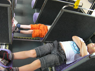 the King Tut position - planking on a bus