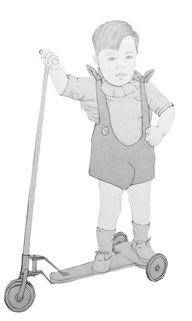 niño, patinete, años 20, dibujo
