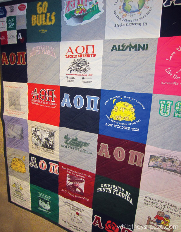 While they snooze fall t shirt quilt tutorial for How to make t shirt quilts easy