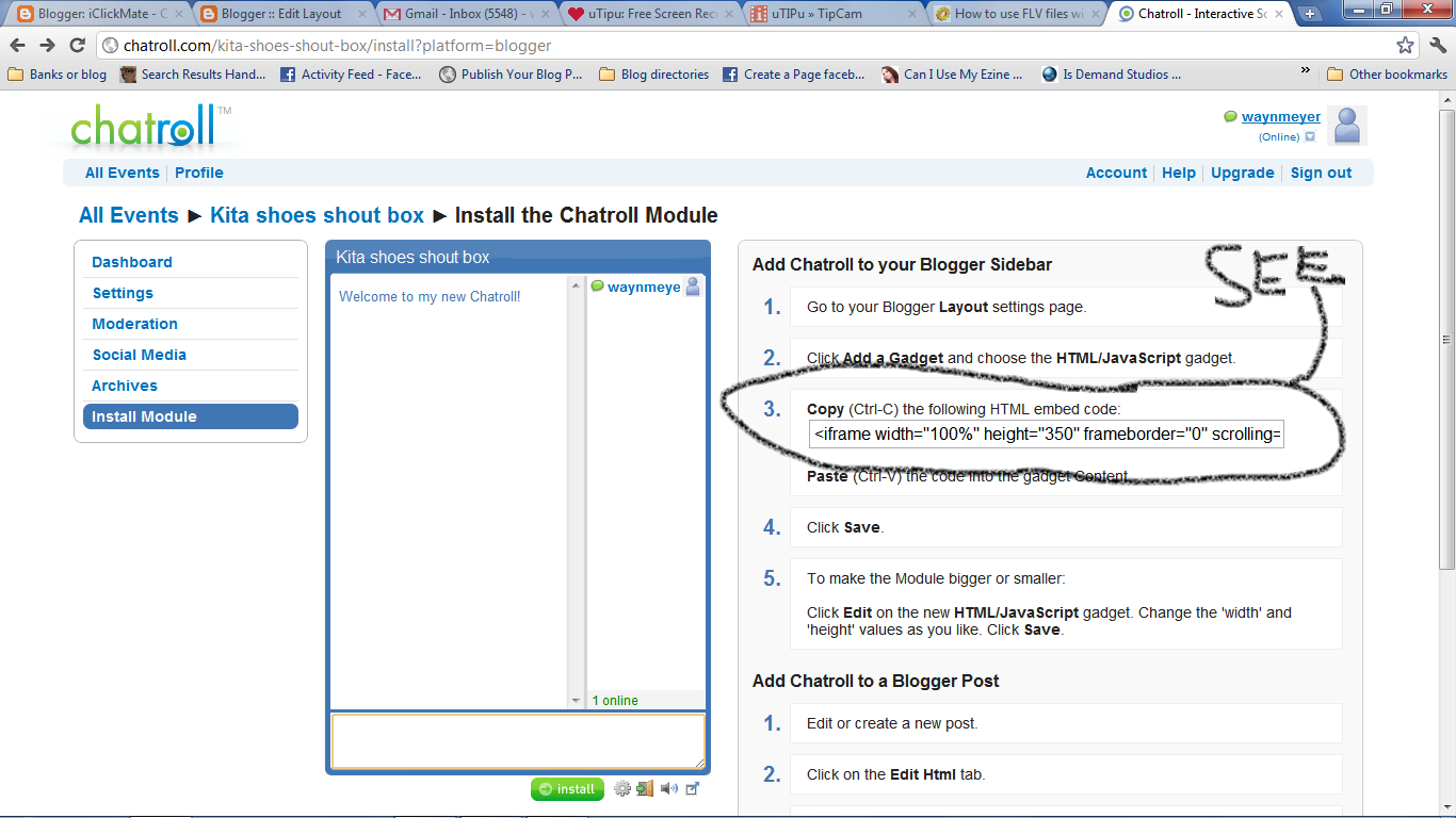 how to embed chat room in blogger iclickmate step 10 click save and view blog for results please note that in order to change the size of this chatroll blogger gadget you will need to chat the pixel