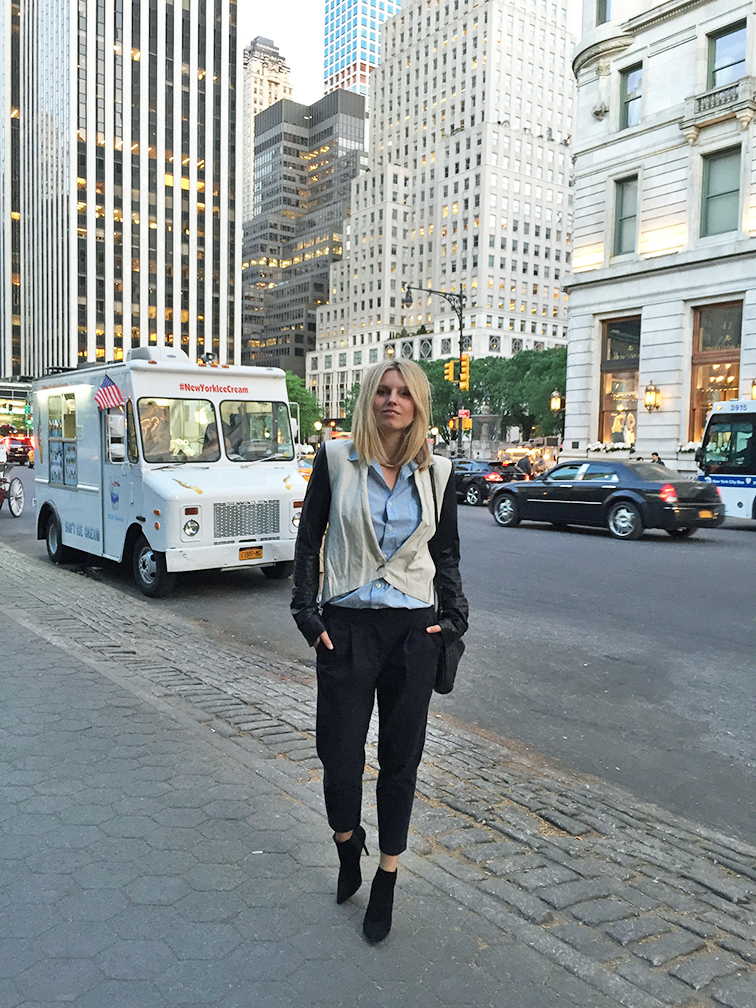 Plaza Hotel, Helmut Lang jacket, Tibi pants, Stuart Weitzman booties, New York City