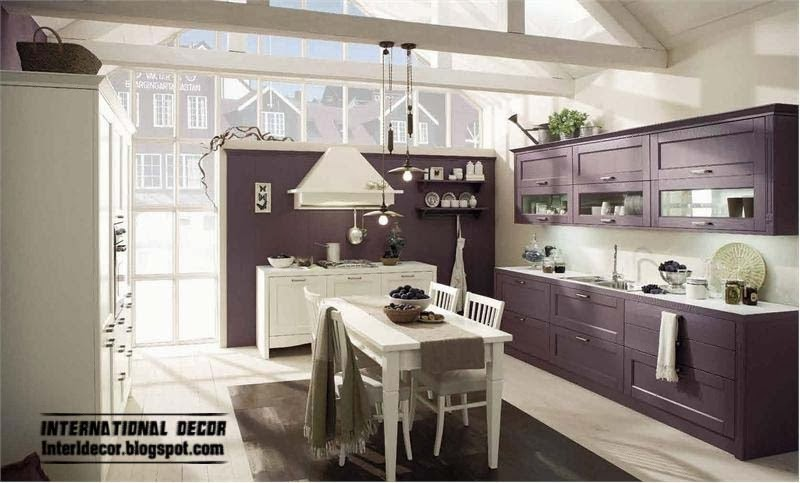 Purple Kitchen interior design and Contemporary kitchen