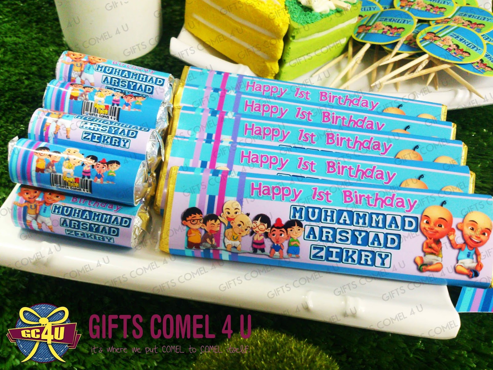 Gifts comel 4 u ordered by nor hazira binti omar upin ipin upin ipin friends bluegreen theme birthday set stopboris Image collections