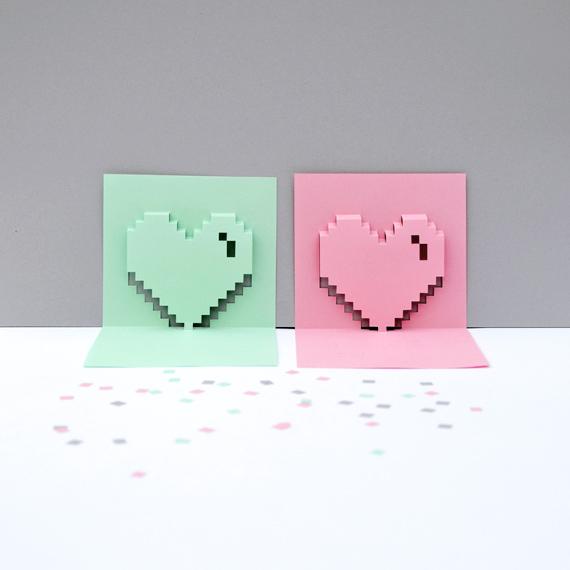 Как сделать объемное сердце для открытки 77