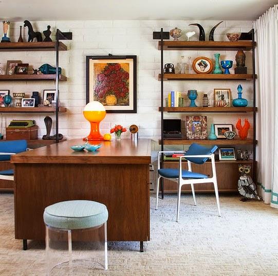 despacho estilo midcentury mezcla colorida moderna