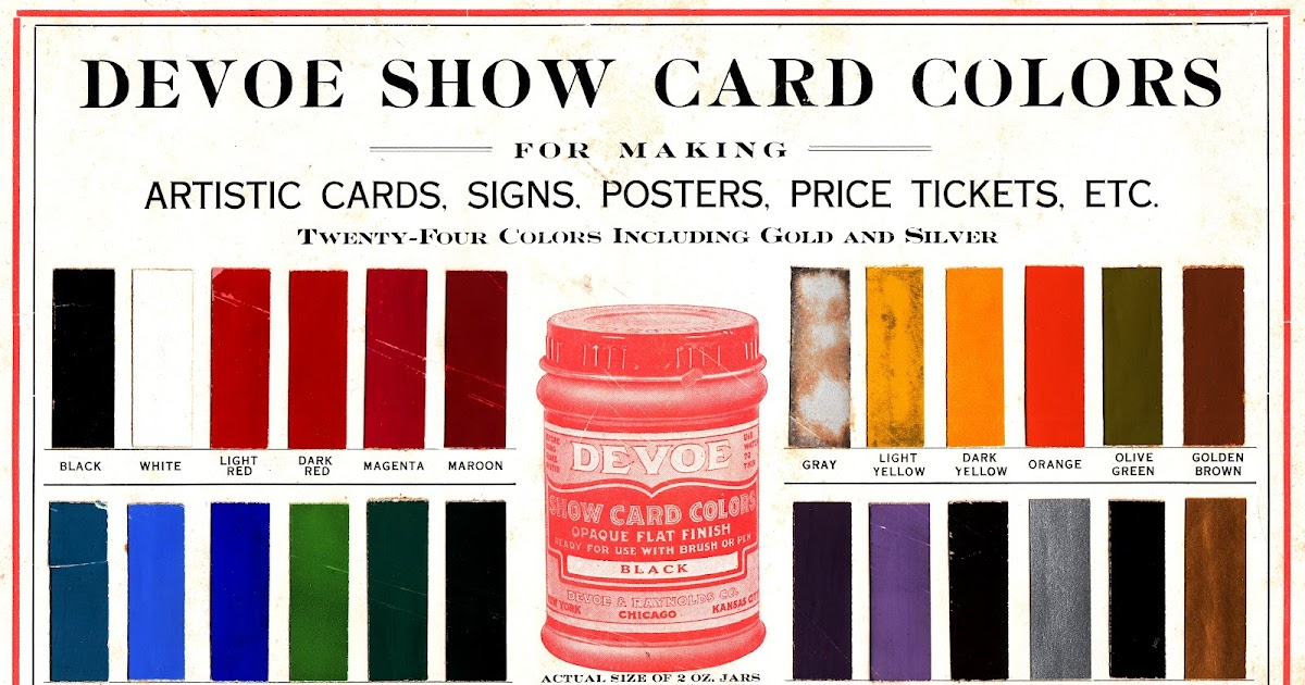 Dull Tool Dim Bulb Show Card Colors Devoe And Raynolds The Oldest