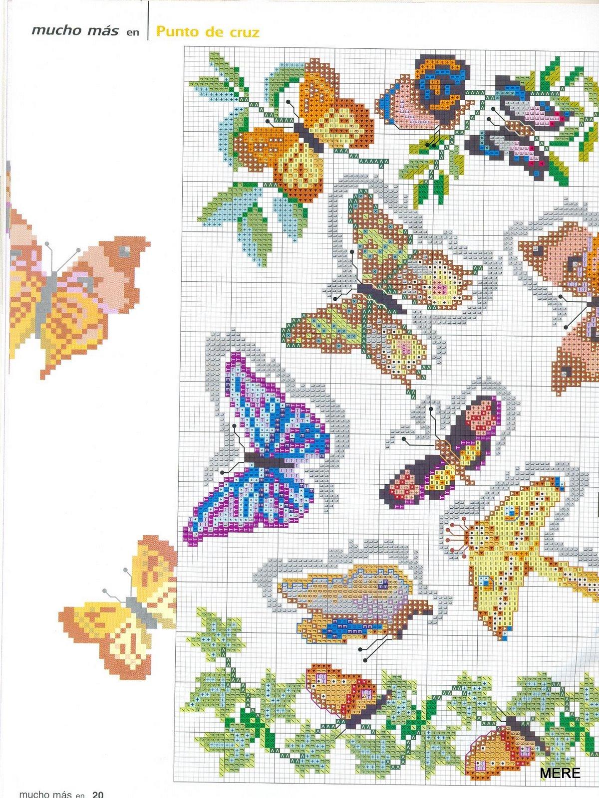 Esquemas y patrones: Mariposas punto cruz / Cross stich butterfly