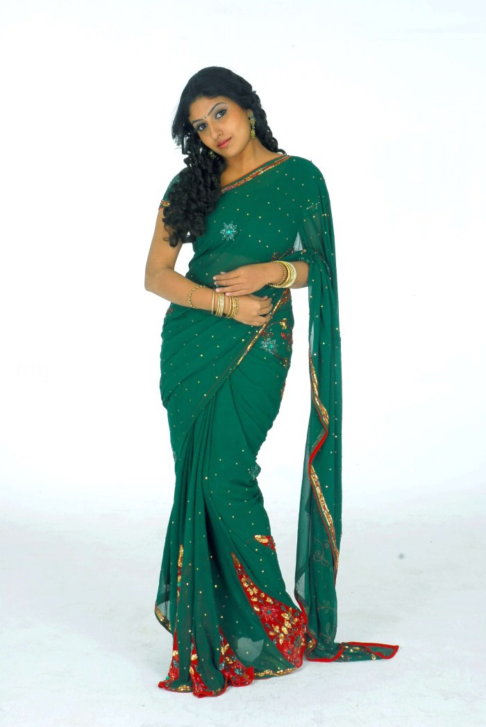 Monica in Green Saree PhotoShoot