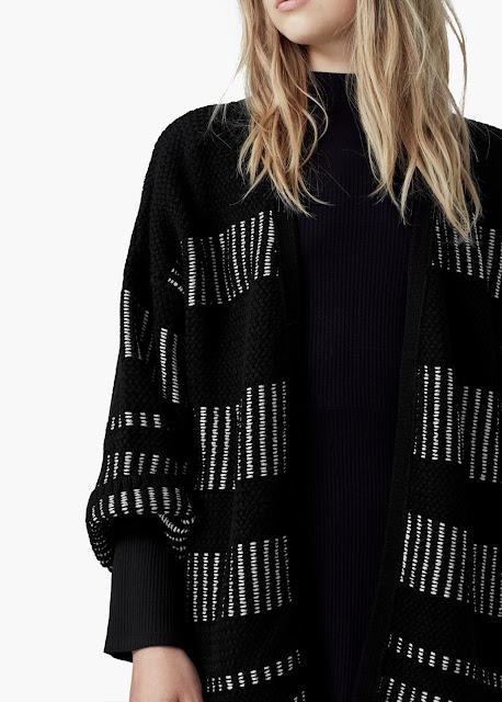 metallic black cardigan, black pattern cardigan, mango black cardigan,
