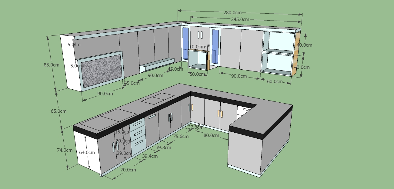 Kitchen set ada 3 model l i dan u harga kitchen set for Kitchen set bagus