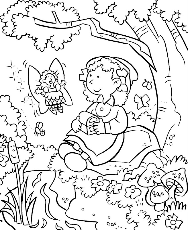 Desenhos - Menina na Natureza - Colorir e Pintar title=