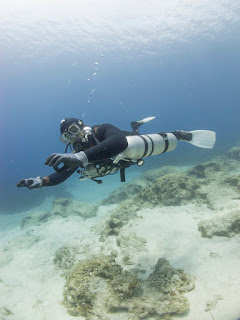 diver diving sidemount configuration in cyprus